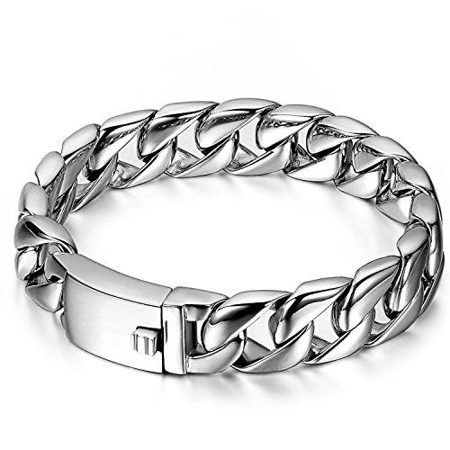 JewelryWe Schmuck Herren Armband, Klassiker Hochglanz Poliert Panzerkette Armreif, Edelstahl, Silber, kostenlos Gravur