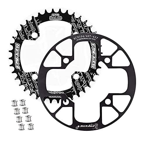 WASAGA Plato Bicicleta, 104BCD Protector & 8pcs Tornillos de Plato Bicicleta para MTB CNC Cirkset 32T 34T 36T 38T 40T 42T Plockes