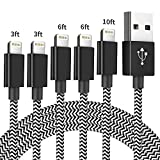 iPhone Charger Cable, MFi Certified Lightning Cables 5Pack [3/3/6/6/10FT] Nylon Braided Charging Cord Compatible with iPhone 11 Pro Max XS XR X 8 7 6S 6 Plus SE 5S 5C 5 iPad (Black White)