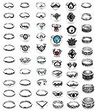 Milacolato 58 Piezas Midi Ring Bohemian Knuckle Ring Sets Moda Dedo Vintage Plata apilable Anillos para Mujeres Niñas Knuckle Midi Anillos