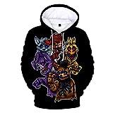 PLMNK Five Nights at Freddy Suéter con patrón de Anime de Dibujos Animados en 3D, suéter de Bolsillo de Manga Larga, Sudadera con Capucha Unisex, Camisa Deportiva Informal S