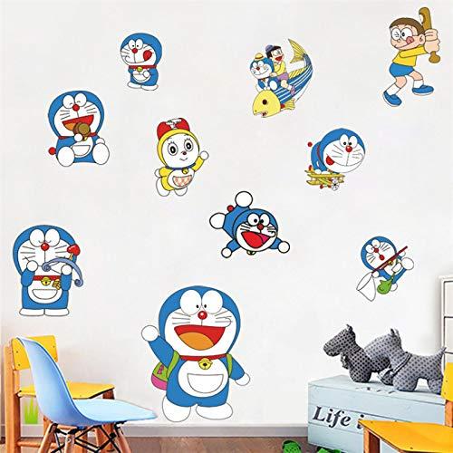 XXYYKK DIY 3D Dibujos Animados Doraemon Lindo Dibujos Animados Nobita Doraemon habitación Infantil Impermeable Pared Pegatinas murales murales Decorativos 60 * 40cm