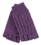 HEAT HOLDERS - Ladies Cable Knitted Winter Thermal Fingerless Gloves (One Size, Light Purple)
