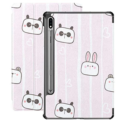 Funda de Animal de Conejo Panda Chino para Tableta para Samsung Galaxy Tab S7 / s7 Plus Funda para Tableta Soporte Contraportada Funda para Tableta Galaxy S7 Plus para Galaxy Tab S7 11 Pulgadas S7 P