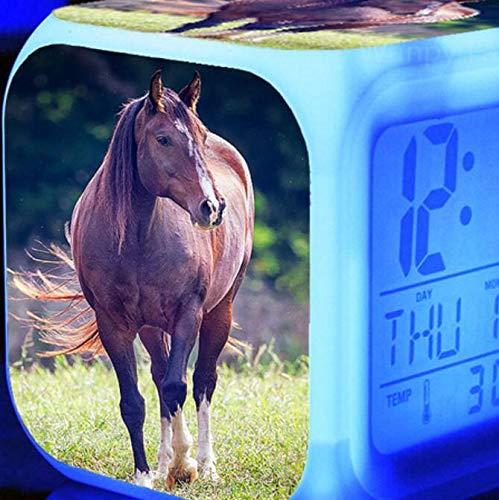 shiyueNB Reloj Despertador Digital LED Luminoso de 7 Colores Caballo Corriendo Reloj Despertador para niños Regalo de cumpleaños Reloj Despertador Vintage Multifuncional Dorado