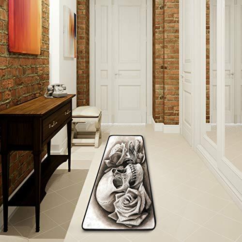 Mnsruu Teppich aus der Vintage-Reihe Sugar Skull Rose Flower für Wohnzimmer, Schlafzimmer, Küche, 61 cm x 182,88 cm