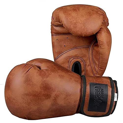 Boxhandschuhe Retro Style Erwachsene Kinder Männer und Frauen PU Leder Muay Thai MMA Sanda Fitness Kampfberuf Training Kampfhandschuhe 8OZ, 10OZ, 12OZ,Braun,8oz