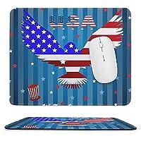 7 月 4 日独立記念日 滑り止めのラバー ベース マウス パッド、厚めの縫い目、ラップトップ オフィスに適した 9.8 インチ×11.8 インチ