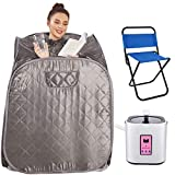 Anfan Portable Steam Sauna 2L Personal Home Sauna Spa for Weight Loss & Detox Relaxation w/Remote Control, Foldable Chair and Timer (Dark Silver)