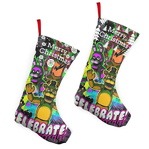 Otikiu FNAF Christmas Fiv-e Nig-hts Stockings at Fre-ddy'S 2 Pack Fireplace Hanging for Gifts for Family Xmas Decoration