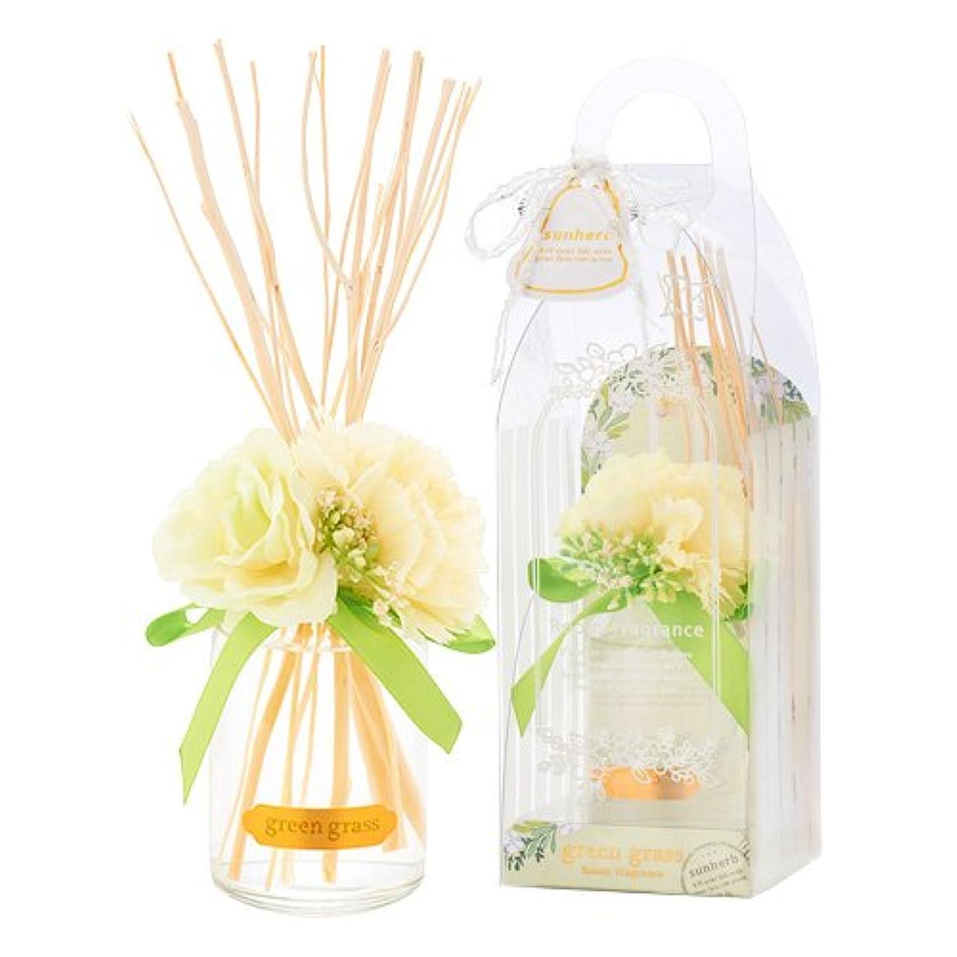 サンハーブ ルームフレグランスフラワー グリーングラス 100ml(芳香剤 花かざり付 爽やかでちょっと大人の香り)