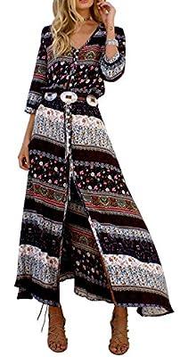 R.Vivimos Women's Summer Button Up Floral Print Split Beach Maxi Dresses XL Brown