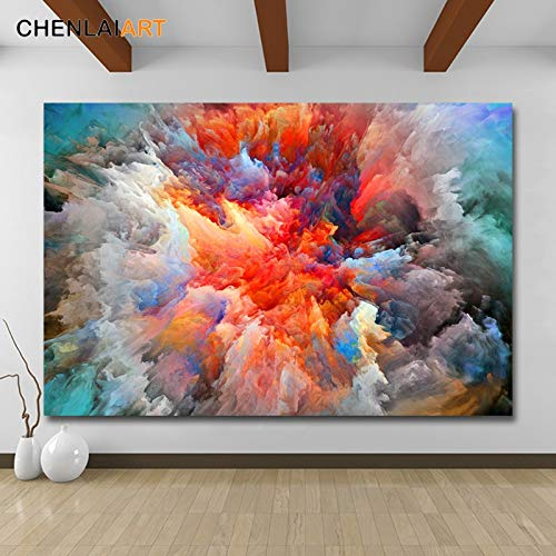 Canvas printen, de moderne abstracte kleurrijke wolken muurkunstposter schilderen en afbeeldingen Home Decor voor de woonkamer afdrukken 70x105cm