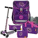 Purple Princess - Prinzessin - DerDieDas ErgoFlex Schulranzen-Set 6tlg. - BALANCE-SCOOTER mit Leucht-Rädern GRATIS DAZU
