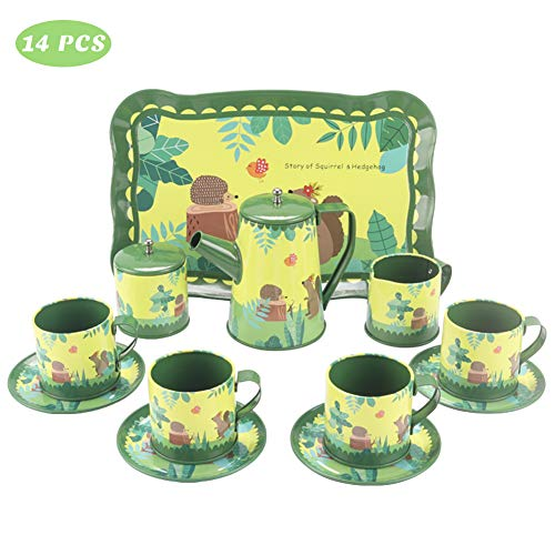 Coco Tree 14 Pieces Squirrels Hedgehogs Kids Tea Set, Pretend Play Toys for Kids, Children, Green Tin Tea Party Set for Little Girls and Boys.