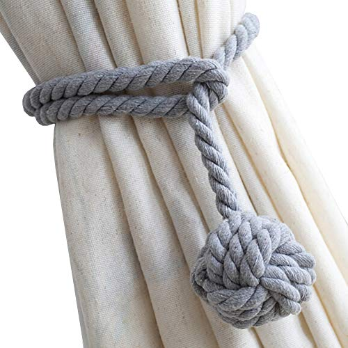 DEZENE 2 Pack Curtain Tiebacks,Handmade Natural Cotton Rope and Round Finial Drapery Tie Bakes,Decorative Holdbacks Holders for Window Sheer and Blackout Panels,Grey