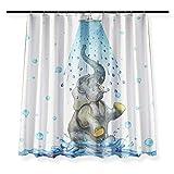 KEKESHIGEDOU Duschvorhänge Aqua-blaues Wasser-schrulliger Spaß-Duschvorhang, Grauer Elefant-Badezimmer-Vorhang-Wasser-widerstandsfähiger Antischimmel 150x180cm