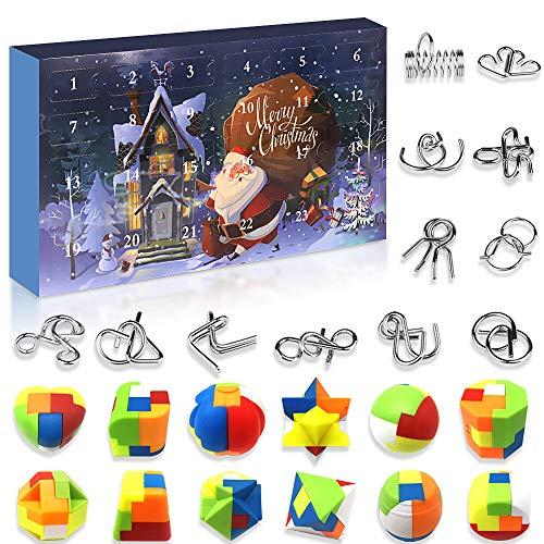 Devis Knobelspiele Spielzeug Adventskalender 2020 Weihnachtskalender, 24 Adventskalender, Metall Knobelspiele, Plastikpuzzle, Kinde