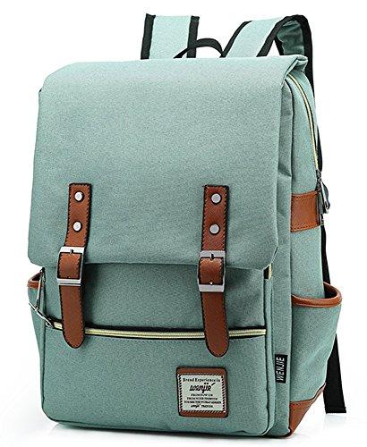 EssVita vintage backpack men women unisex school student oxford laptop backpack retro rucksacks school rucksack, Green (Green) - H5-2VHK-CLVM
