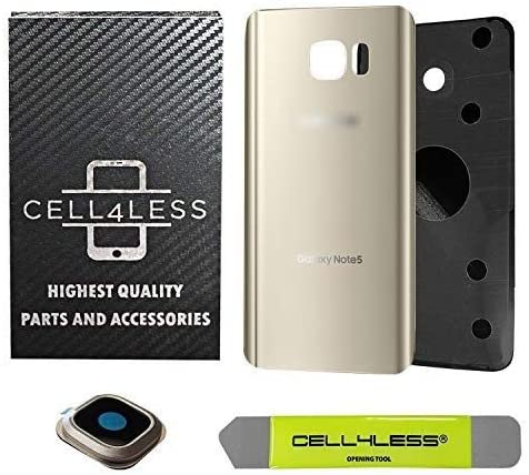 CELL4LESS Compatible with Galaxy Note 5 Replacement Rear Back Glass Back Cover w/Camera Lens, Custom Removal Tool & Pre-Installed Adhesive - Fits N920 Models - 2 Logo (Gold)