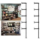Industrial Wall Mount Iron Pipe Shelf Bracket,Vintage Retro Black DIY Open Bookshelf, Storage Shelves, Ceiling Hung Shelves for Home Kitchen Office(2PcsX5Tier,70' Tall,12'deep,Hardware Only)
