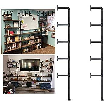 Industrial Wall Mount Iron Pipe Shelf Bracket,Vintage Retro Black DIY Open Bookshelf Storage Shelves Ceiling Hung Shelves for Home Kitchen Office 2PcsX5Tier,70  Tall,12 deep,Hardware Only