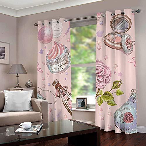 MEKVF Cortina Inglés Rosa 220X215Cm Super Suave Reduce Ruido Aislar Frío Calor Bajo Opacas Impresión Bajo Precio Dormitorios Salones Infantiles 2 Piezas