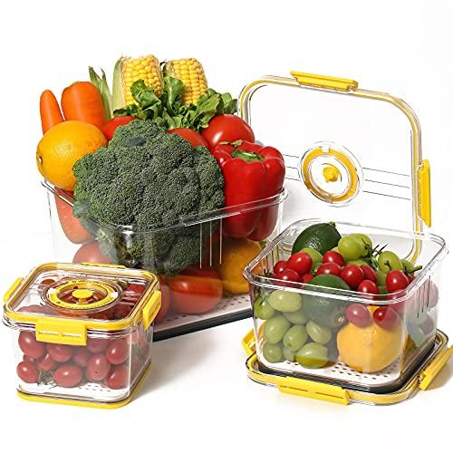 ERISED Fresh Produce Vegetable Fruit Storage Containers 3 Set with Time Recording,BPA-free Fridge Storage Container, Salad Container and Fridge Organizers,Yellow(Not Dishwasher Safe)