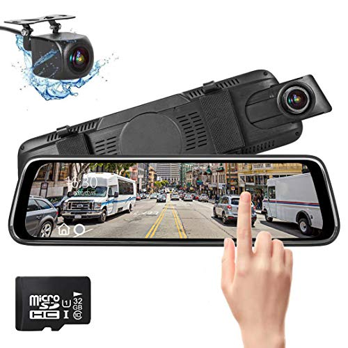 Spiegel dashcam, autocamera video recorder 1080p Full HD met 170 ° groothoeklens, 10 inch IPS touchscreen, met 32 GB SD-kaart, nachtzicht, loopopname en G-sensor, parkeerbewaking