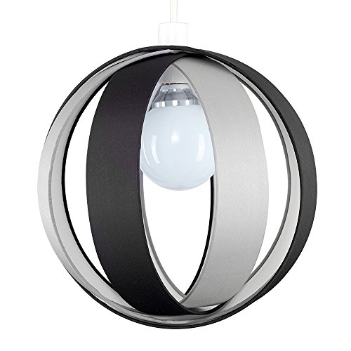 MiniSun - Moderna y divertida pantalla para lámpara de techo 'Cocoon' – negra, redonda en forma de globo