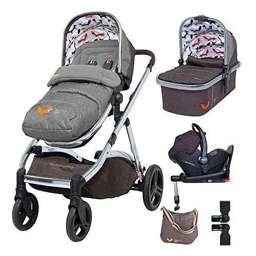 Cosatto Wow XL Pram Pushchair Everything Travel System Bundle – From Birth to 25kg, RAC Port i-Size Car Seat, Adaptors, ISOFIX Base, Footmuff & Change Bag (Mister Fox)