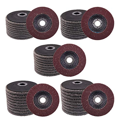 """Mixiflor 50 Packs High Density Aluminum Oxide Flap Disc Abrasive Grinding Whee, 4"""" Sandpaper Wheel, for Polishing Metal, Stainless Steel and Wood(60 80 120 180 240 Grits)"""