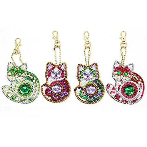 4pcs Cat DIY Full Drill Special Shaped Diamond Painting Keychain Pendant Woman Girl Jewelry Keyring Cross Stitch Christmas Gift