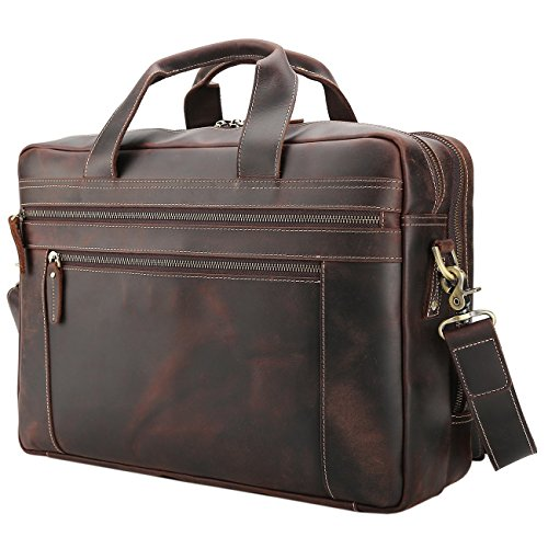 Polare Men's Full Grain Leather 17'' Briefcase Laptop Business Bag with YKK Metal Zippers