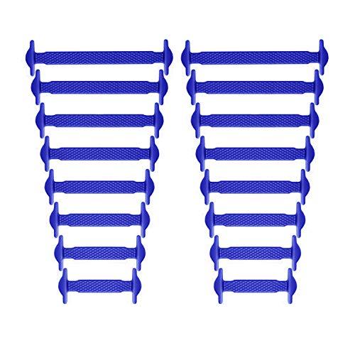 Newkeen sin corbata Cordones de zapatos para niños y adultos - Impermeables cordones de zapatos de atletismo atlética de silicona elástico plano con multicolor