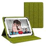 eFabrik Schutztasche für Odys Ieos Quad Pro 10.1 Zoll Tablet Wendehülle Tasche Hülle Cover Leinen türkis-grün grau