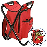 Outrav Red Backpack Cooler and Stool - Collapsible Folding Camping Chair and Insulated Cooler Bag with Zippered Front Pocket and Bottle Pocket – for Hiking, Beach and More
