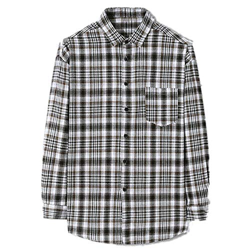 N\P Camisa de hombre a cuadros de manga larga holgada camisa de trabajo casual chaqueta de hombre