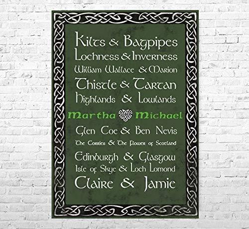 TinyTami ★ Kunstdruck Hochzeitsgeschenk ★ Schottland Liebe ★ Individuell ★ A4 oder A3 ★ Fineart Print ★ Poster ★ Bild keltisch ★ Kelten ★100% handmade