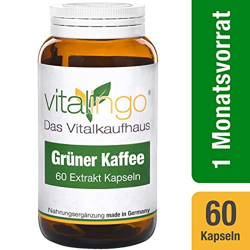 Grüner Kaffee Extrakt Kapseln von vitalingo - 60 Kapseln à 496 mg - 200 mg Grüner Kaffee Extrakt je Kapsel