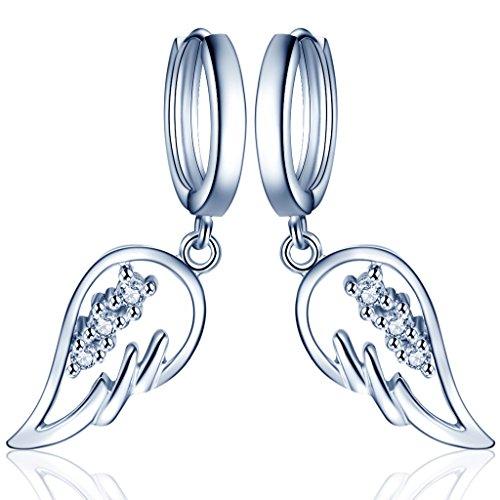 Yumilok - Orecchini a cerchio con pendente con motivo ad ali d'angelo, in argento Sterling 925con zirconi, fatti a mano, ipoallergenici, per donne e ragazze