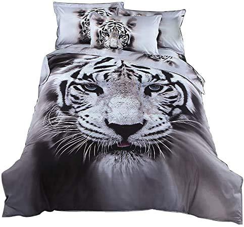 Stillshine. Ropa de Cama Funda Nórdica Blanco y Negro 3D Animal Tigre Patrón Colcha de Microfibra con Cremallera + Funda de Almohada (color1,Double Size 200x200 cm)