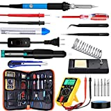 Updated Soldering Iron Kit , WRLSUN 60W Adjustable Temperature Electric Soldering Iron 110V with ON/OFF Switch, Welding Tool, Digital Multimeter, Soldering Iron Stand