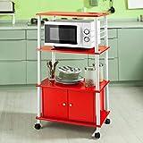 ZeoTioo Küchenwagen, Küchenschrank, Rollschrank, Küchenregal,rot