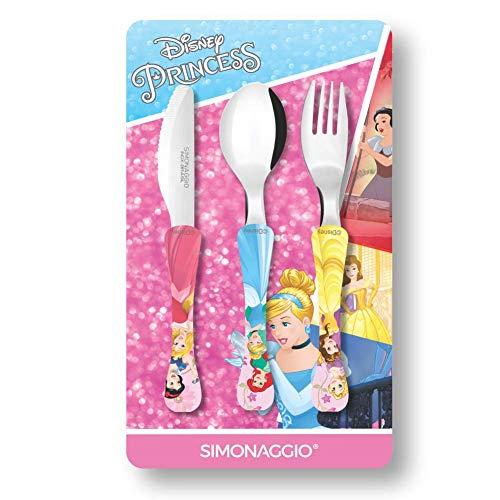 Jogo de Talheres Infantil Disney Kids Princesas, Simonaggio, Multicor, Pacote de 3