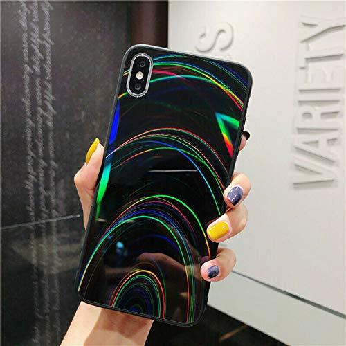 ZTOFERA Carcasa de TPU para iPhone XR, colores arcoíris, carcasa de TPU suave brillante, delgada, ligera y resistente a los golpes, para iPhone XR, color negro