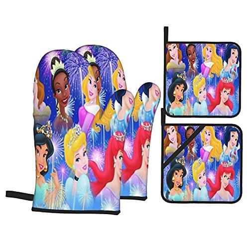 Cute Phones Guantes de horno y portavasos de princesa Disney resistentes al calor y almohadillas calientes antideslizantes (juego de 4 piezas)
