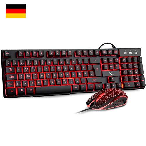 Rii Gaming Tastatur und Maus Set RK108, Gaming Tastatur Set mit Maus, Maus Tastatur Set 3 LED Hintergrundbeleuchtung, ideal für Gaming und Büro (DE-Layout, Schwarz)