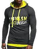Leif Nelson Gym pour des Hommes Fitness Sweatshirt avec Capuche Hoodie Manche Longue Chemise d'entraînement T-Shirt Training LN06278; Taille S, Jaune Anthracite