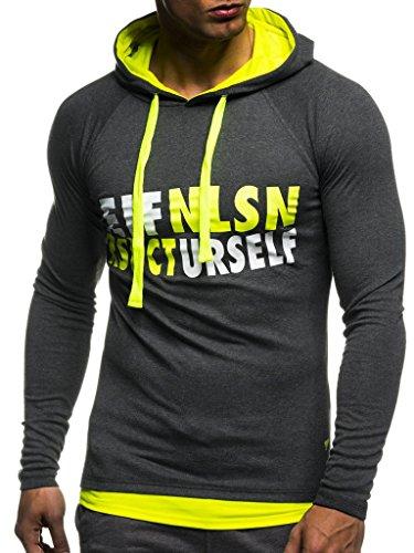 Leif Nelson Gym Herren Fitness Sweatshirt mit Kapuze Hoodie Langarm Trainingsshirt T-Shirt Training LN06278; Größe XXL, Anthrazit-Gelb
